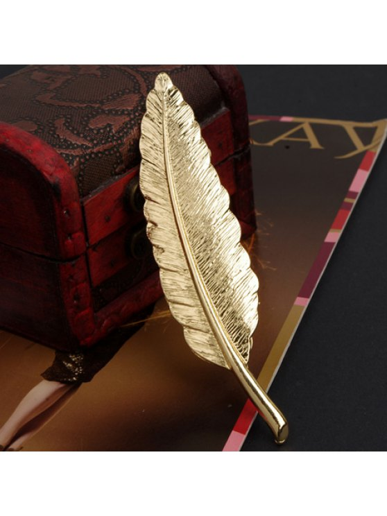 trendy Retro Style Metal Feather Brooch For Women - GOLDEN