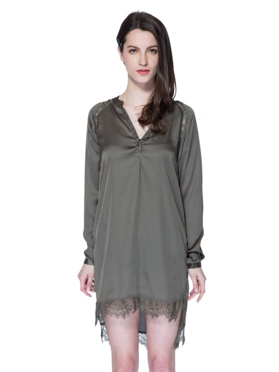 lady Solid Color Lace Splicing Dress - ARMY GREEN XS