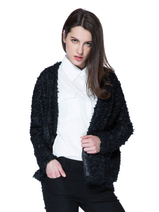 fancy Lamb Wool Solid Color Long Sleeve Coat - BLACK XL