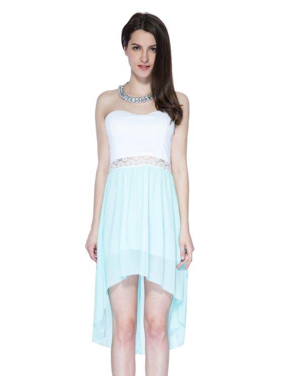 women Color Block Strapless Dress - AZURE S