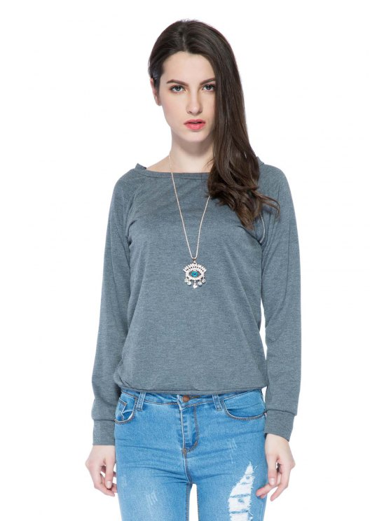 outfits Solid Color Long Sleeve Zipper Sweatshirt - GRAY S