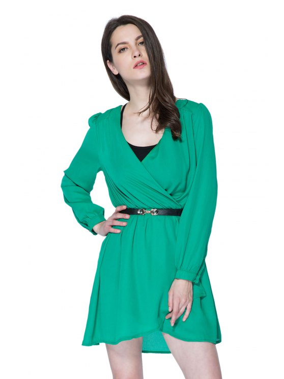 ladies Long Sleeves Solid Color Dress - GREEN S