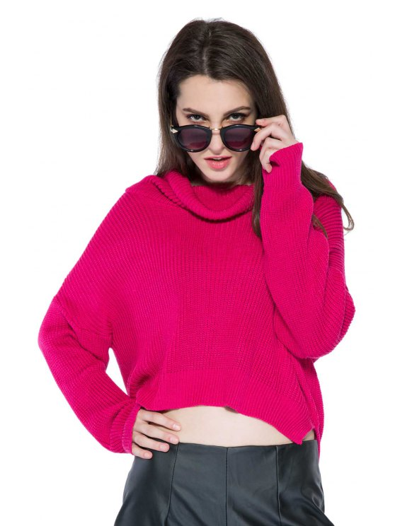 sale Solid Color High-Low Hem Sweater - WINE RED XS