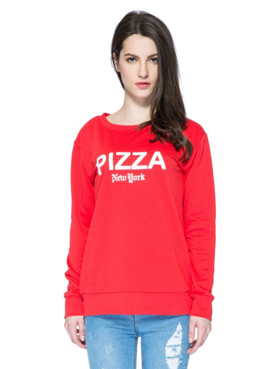 unique Red Letter Print Long Sleeve Sweatshirt - RED XS