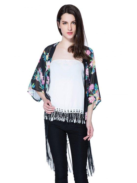 outfit Floral Print 3/4 Sleeve Fringe Blouse - BLACK S