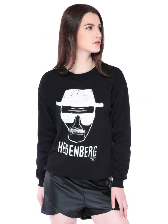 outfits Portrait Print Long Sleeve Sweatshirt - BLACK M