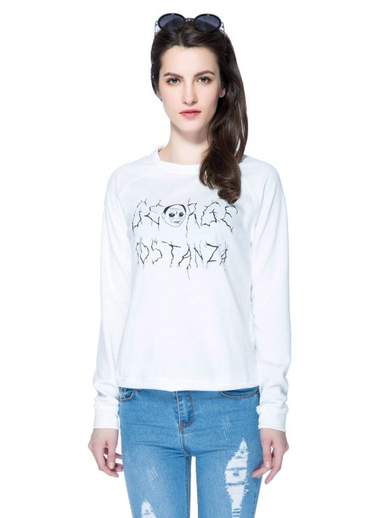 hot Zombie and Letter Print Sweatshirt - WHITE XS