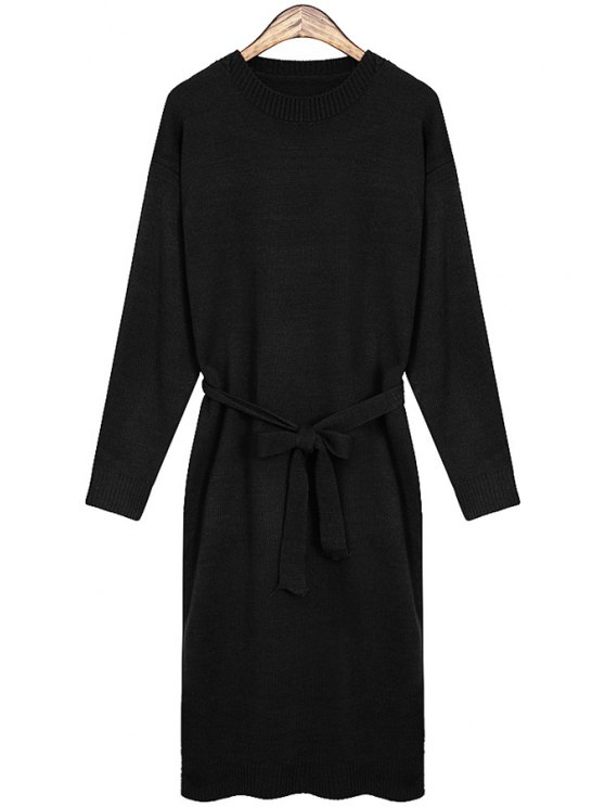 best Solid Color Self-Tie Sweater Dress - BLACK ONE SIZE(FIT SIZE XS TO M)