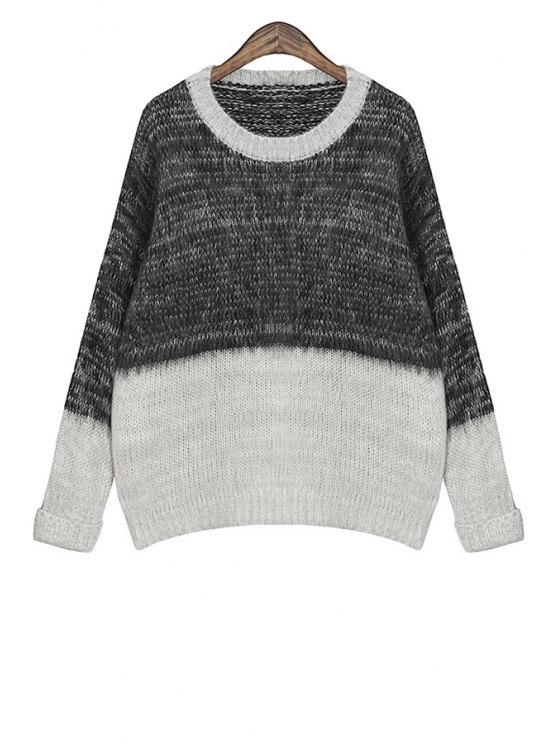 womens Color Block Jewel Collar Sweater - GRAY ONE SIZE(FIT SIZE XS TO M)