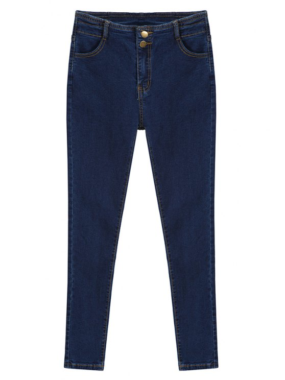 womens High Waisted Solid Color Jeans - DEEP BLUE S