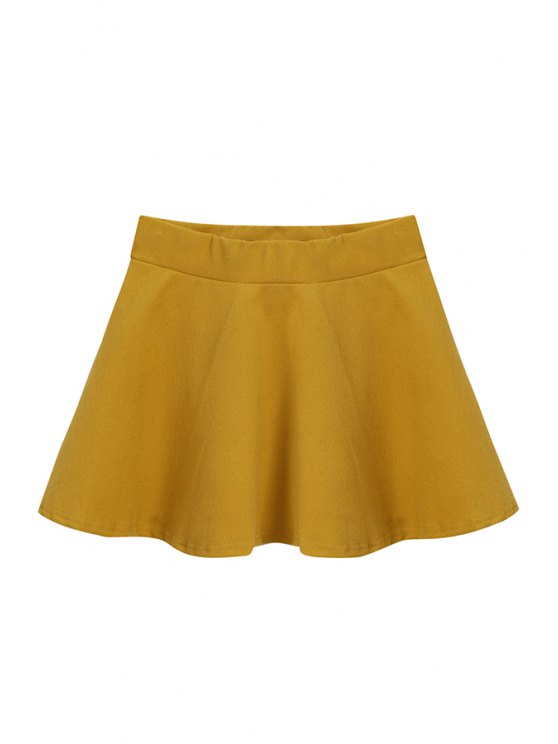 women Flouncing A-Line Solid Color Skirt - YELLOW ONE SIZE(FIT SIZE XS TO M)
