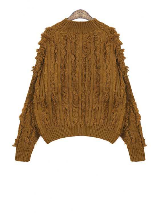 fashion Solid Color Fringe Sweater - CAMEL ONE SIZE(FIT SIZE XS TO M)