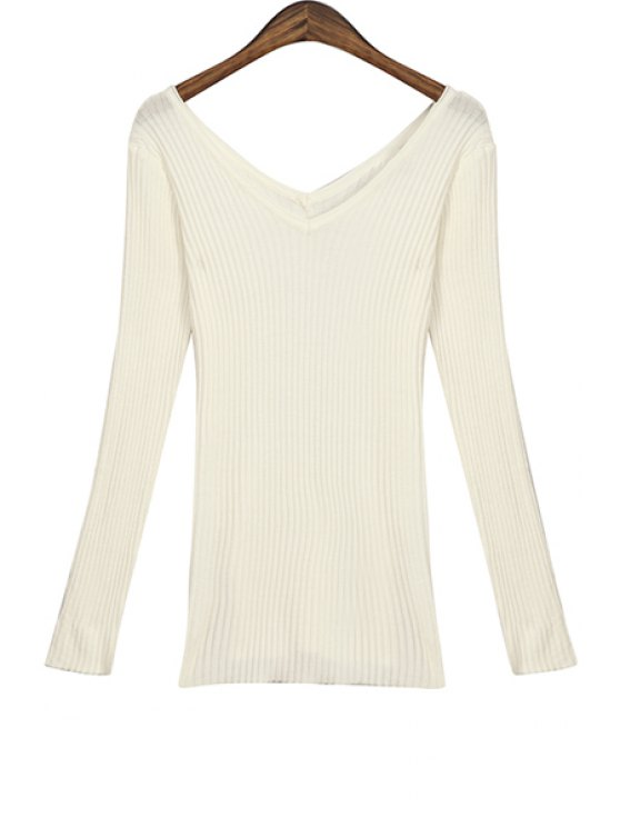 fancy White V-Neck Slimming Knitwear - WHITE ONE SIZE(FIT SIZE XS TO M)