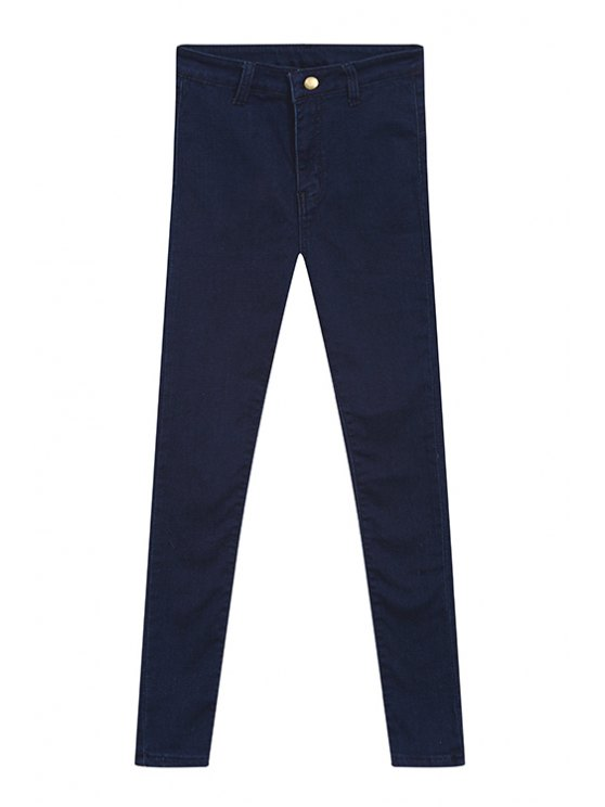 ladies Solid Color High Waisted Jeans - DEEP BLUE S