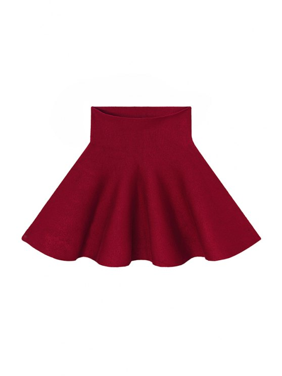 shop Flouncing Solid Color Knit Skirt - CLARET ONE SIZE(FIT SIZE XS TO M)
