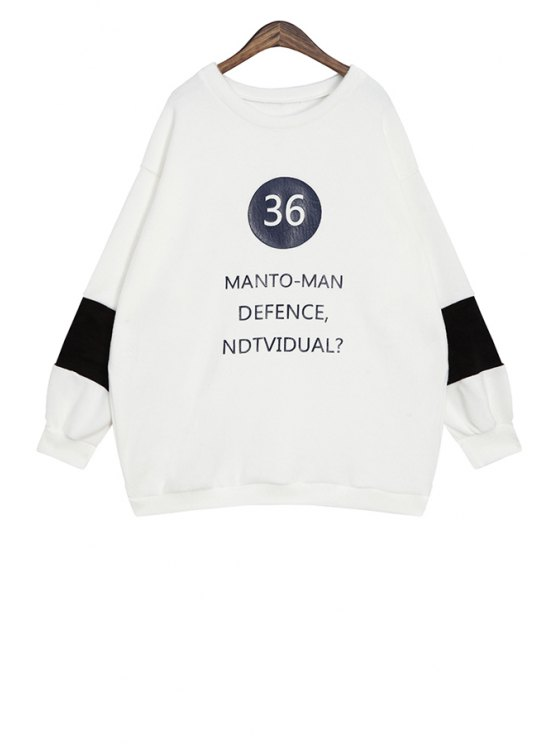shops Letter and Number Pattern Sweatshirt - WHITE ONE SIZE(FIT SIZE XS TO M)