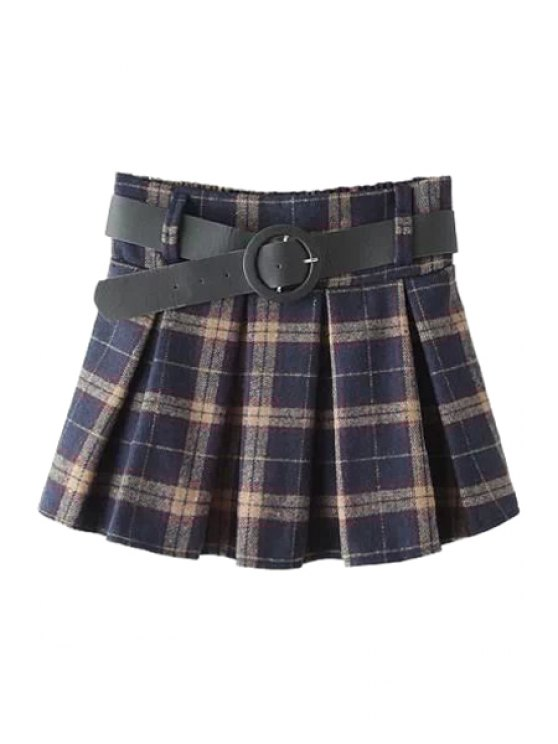 affordable Checked A-Line with Belt Pantskirt - CHECKED ONE SIZE(FIT SIZE XS TO M)
