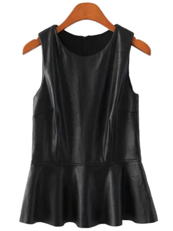 lady PU Leather Ruffles Tank Top - BLACK S