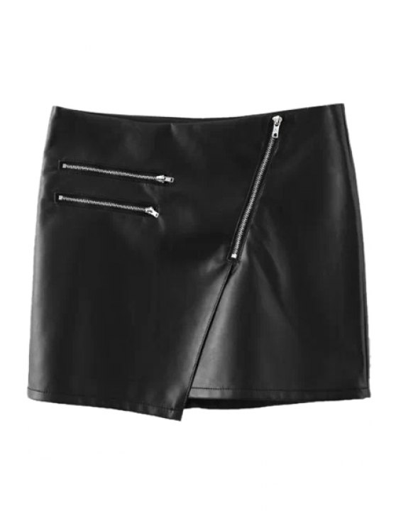 outfits Black PU Leather Zipper Skirt - BLACK S