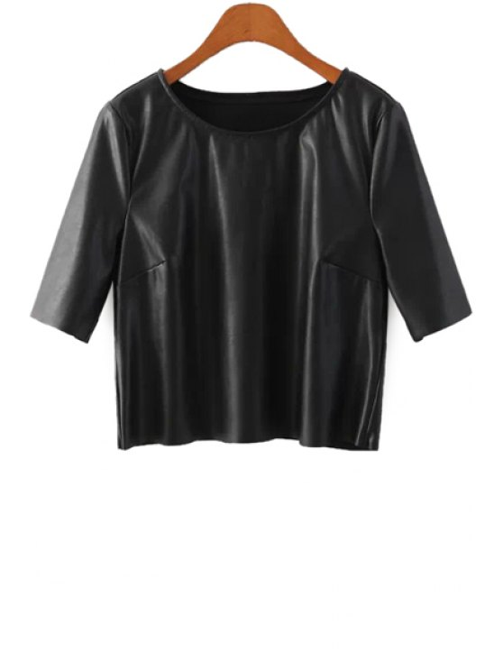 sale Half Sleeve Black PU Leather T-Shirt - BLACK S