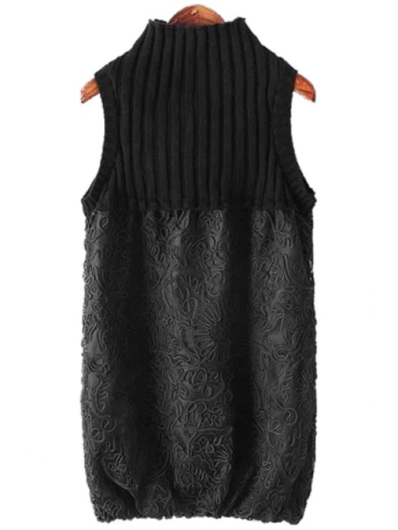 best Sleeveless Embroidery Splicing Dress - BLACK ONE SIZE(FIT SIZE XS TO M)