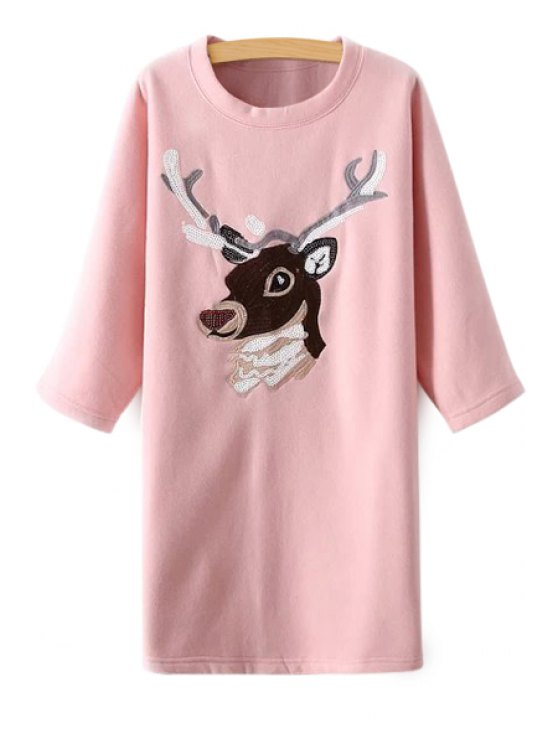 outfit Deer Embroidery 3/4 Sleeve Dress - PINK M
