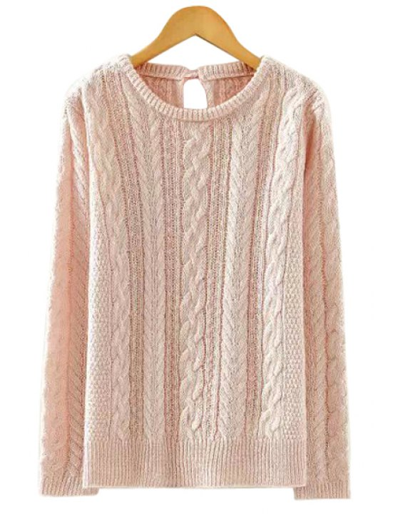 affordable Lace-Up Solid Color Sweater - PINK M
