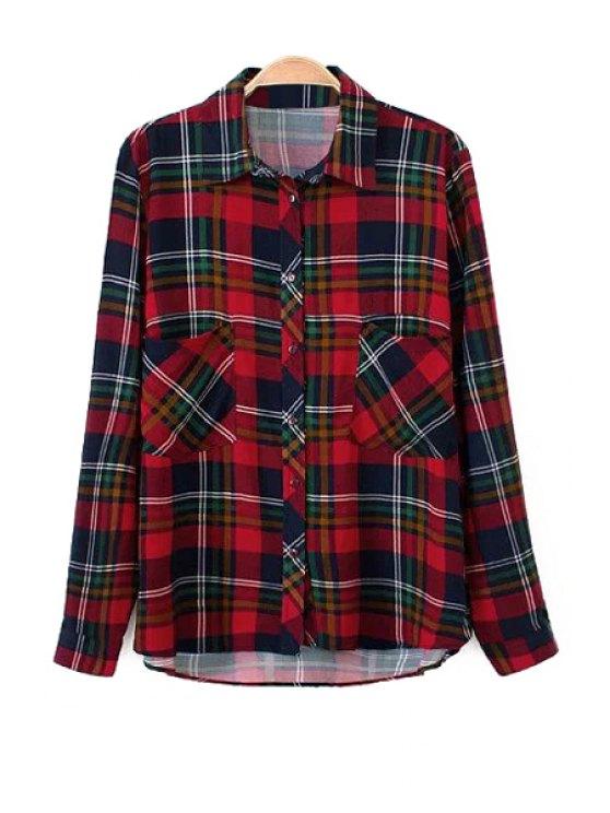 sale Plaid Shirt Collar Pockets Shirt - CHECKED S