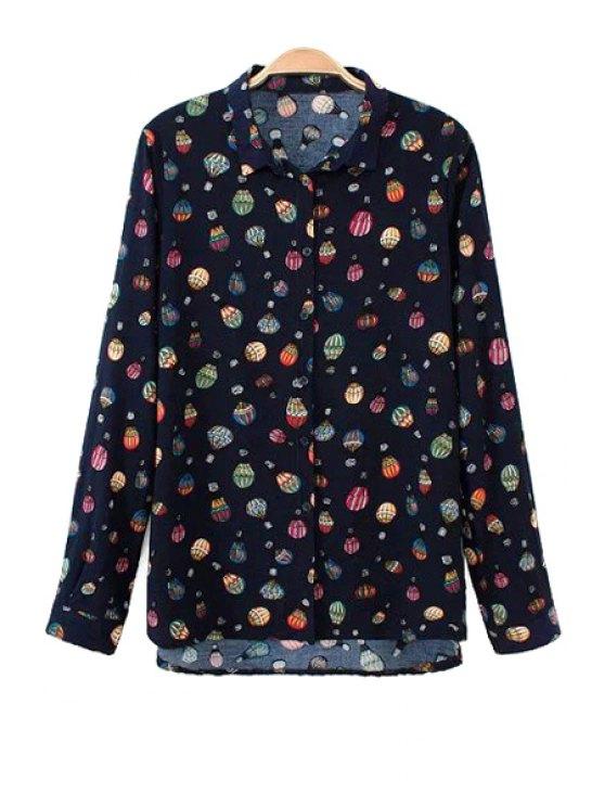 best Long Sleeve Balloon Print Shirt - BLACK S