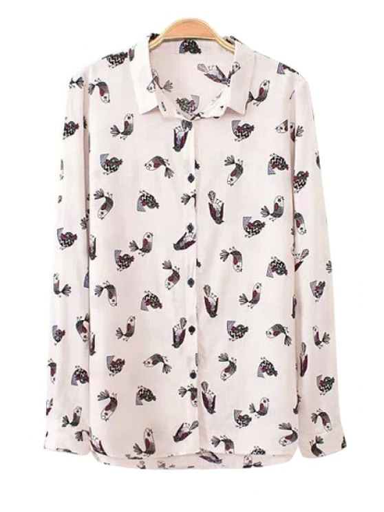 latest Long Sleeve Bird Print Shirt - WHITE S