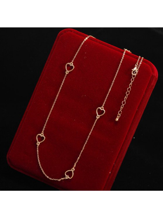fancy Chic Women's Openwork Heart Sweater Chain Necklace - GOLDEN