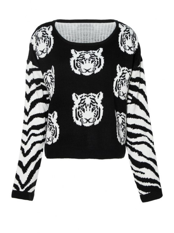 best Tiger Pattern Long Sleeves Sweater - BLACK XS