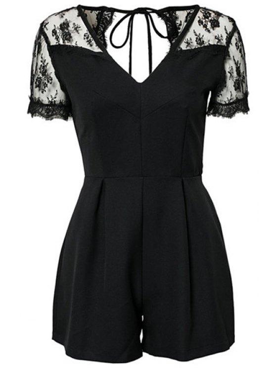 hot Lace Splicing Short Sleeve Jumpsuit - BLACK XS