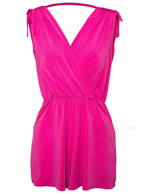trendy Solid Color Sleeveless Jumpsuit - PEACH RED XS