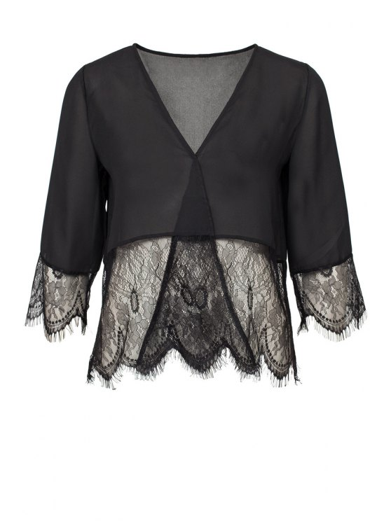 women's Lace Splicing 3/4 Sleeves Blouse - BLACK XS