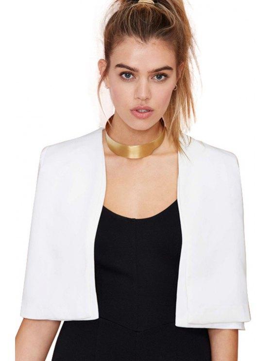unique White Collarless Cape Coat - WHITE XS