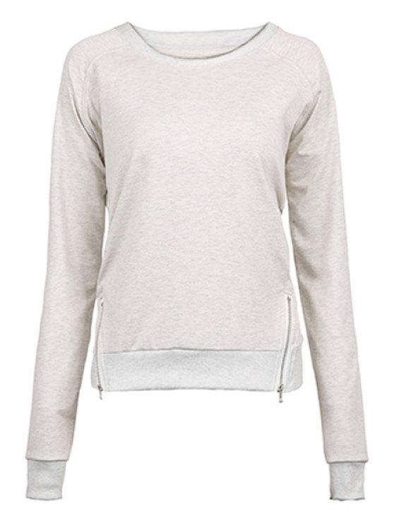 chic Gray Zipper Jewel Neck Sweatshirt - GRAY S