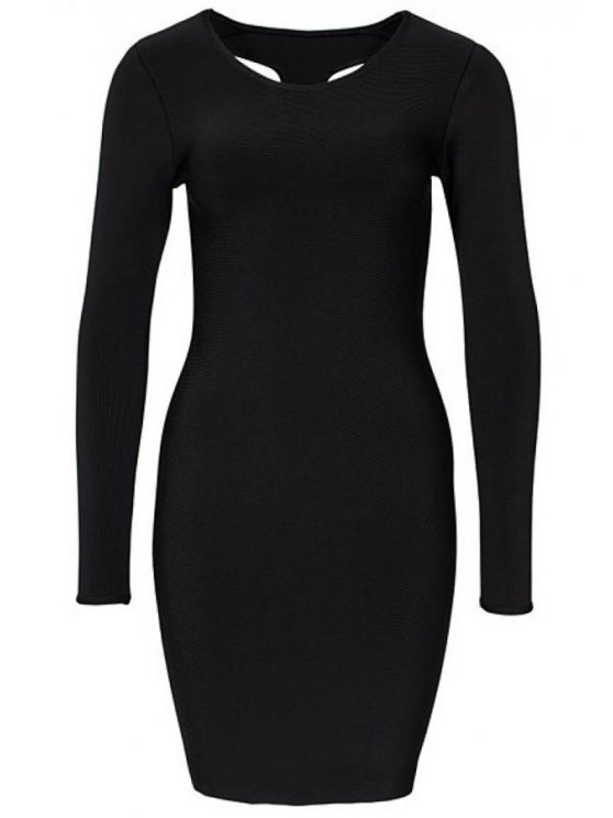 chic Black Backless Bodycon Dress - BLACK S