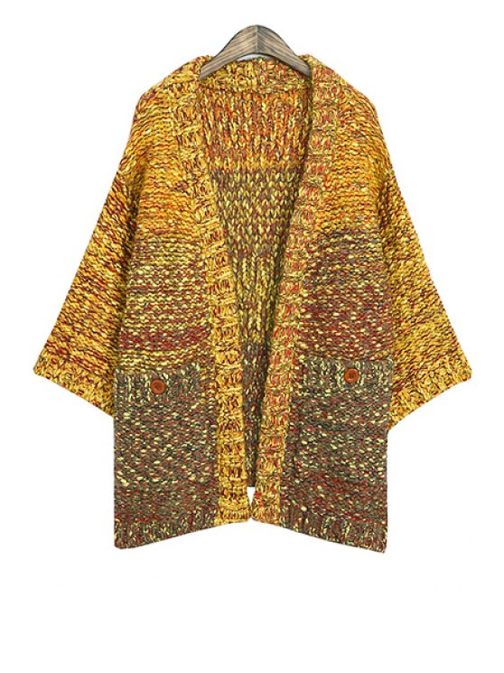 buy Color Mixed Long Sleeves Cardigan - YELLOW ONE SIZE(FIT SIZE XS TO M)