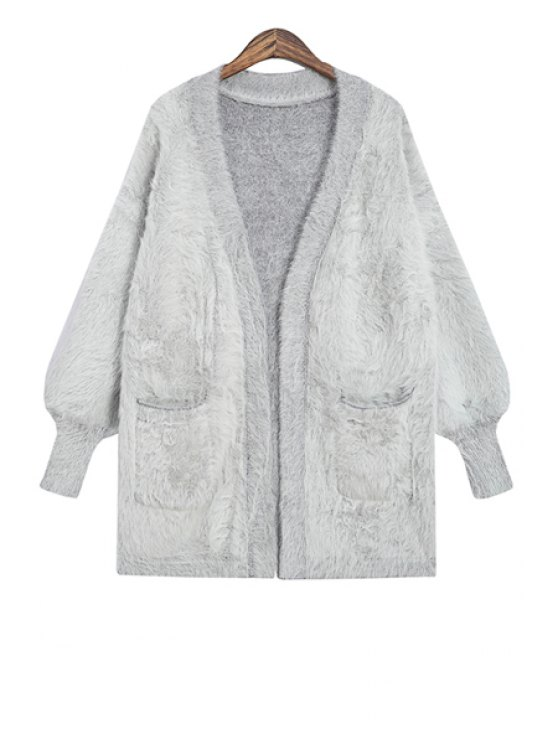 lady Plunging Neck Solid Color Cardigan - GRAY ONE SIZE(FIT SIZE XS TO M)