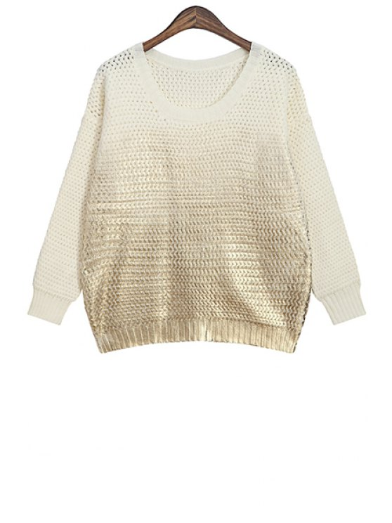 hot Color Block Splicing Scoop Neck Sweater - WHITE ONE SIZE(FIT SIZE XS TO M)