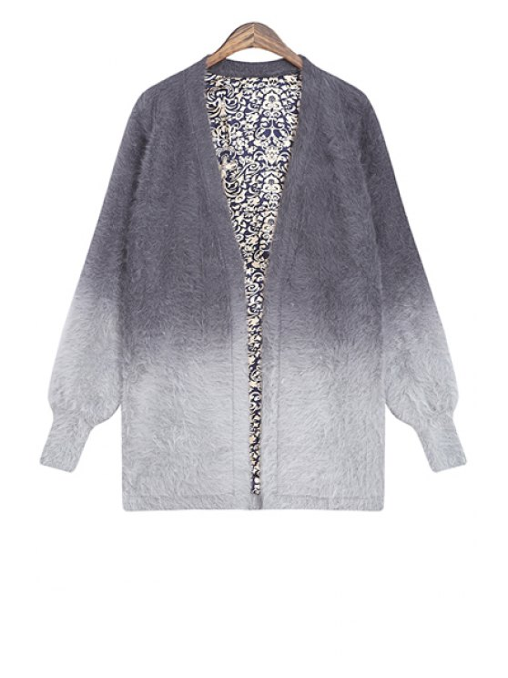 outfits Color Block V-Neck Cardigan - GRAY ONE SIZE(FIT SIZE XS TO M)