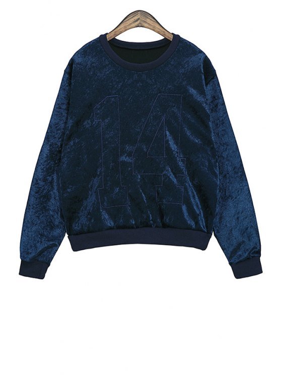online Long Sleeve Number Pattern Sweatshirt - BLUE ONE SIZE(FIT SIZE XS TO M)