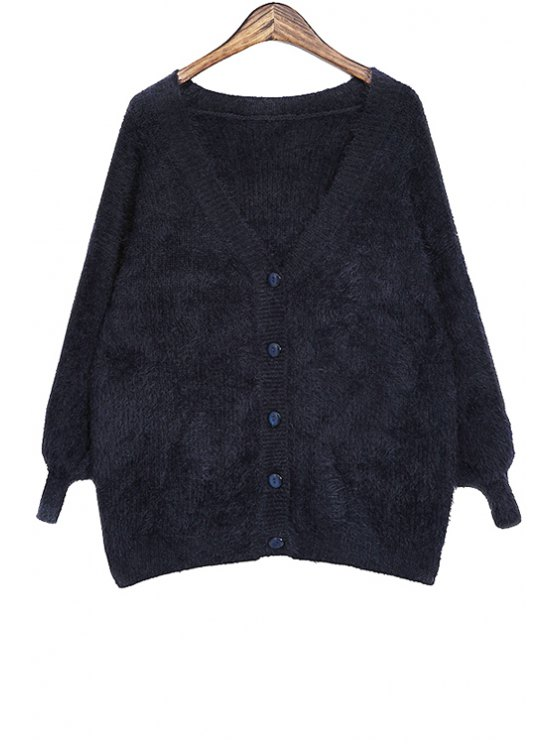 chic V-Neck Solid Color Mohair Cardigan - DEEP BLUE ONE SIZE(FIT SIZE XS TO M)