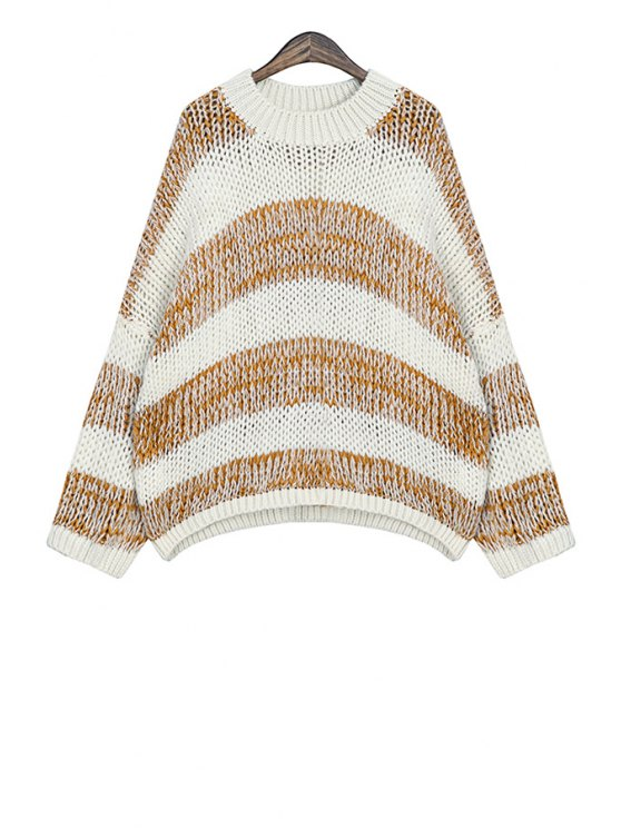 fancy Round Neck Striped Sweater - KHAKI ONE SIZE(FIT SIZE XS TO M)