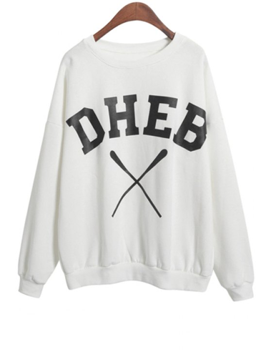 ladies Round Neck Letter Pattern Sweatshirt - WHITE ONE SIZE(FIT SIZE XS TO M)