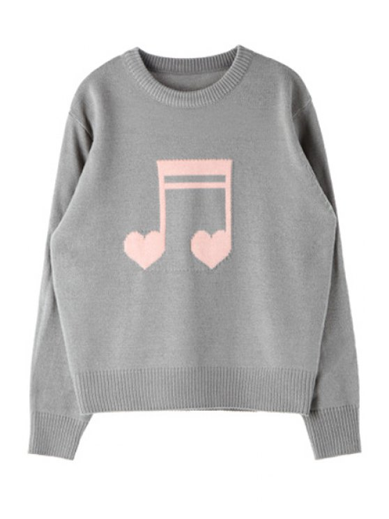 hot Musical Note Pattern Sweater - GRAY ONE SIZE(FIT SIZE XS TO M)