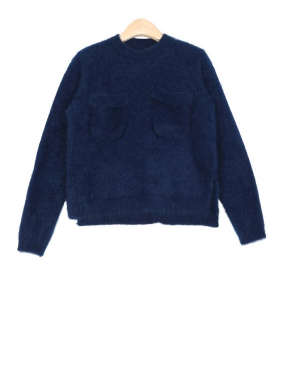shop Pocket Solid Color Long Sleeves Sweater - BLUE ONE SIZE(FIT SIZE XS TO M)