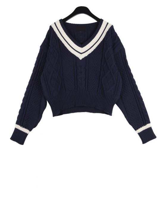 fashion Color Block Cable-Knit Sweater - DEEP BLUE ONE SIZE(FIT SIZE XS TO M)