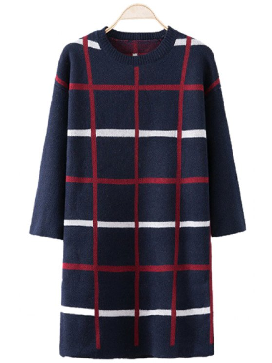 unique Checked Pattern Sweater Dress - PURPLISH BLUE ONE SIZE(FIT SIZE XS TO M)